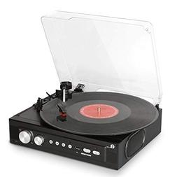 1byone Belt-Drive 3-Speed Mini Stereo Turntable with Built i