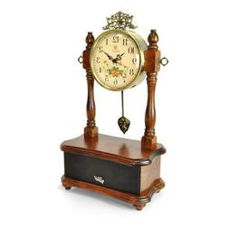 Pyle 2-in-1 Retro Vintage Style Clock & Bluetooth Stereo Spe
