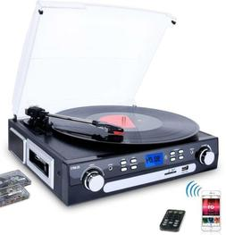3-Speed Bluetooth Record Player Turntable for Vinyl to MP3 f