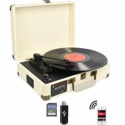3-Speed Bluetooth USB Suitcase Vinyl Record Player Stereo Tu