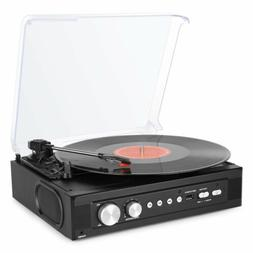 1Byone 3 Speed Retro Vinyl Record Player Stereo Turntable wi