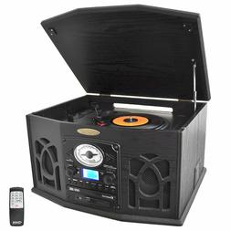 Pyle 3-Speed Stereo Record Player Turntable CD Cassette Play