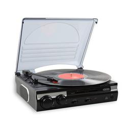 Jensen 3-Speed Stereo Record Player Turntable with Built-in