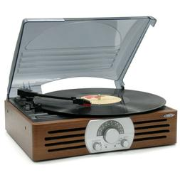 Jensen 3-Speed Stereo Turntable with AM/FM Stereo Radio, Bra