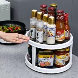 360°Rotating Spice Storage Rack Tray Turntable Home Kitchen
