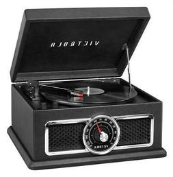 4-in-1 Nostalgic Plaza Bluetooth Record Player in Black