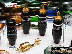 4 Rca Plugs NAKAMICHI Model 2 Male Gold 24 K Replacement Tur