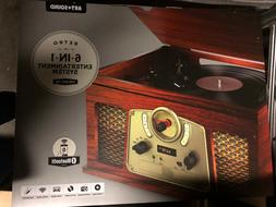 RETRO 6 IN 1 Entertainment System Turntable CD Player Casset