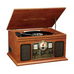 6-in-1 Nostalgic Bluetooth Record Player with 3-Speed Turnta