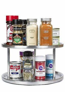 Estilo Stainless Steel Lazy Susan - 2 Tier Design, 360-degre