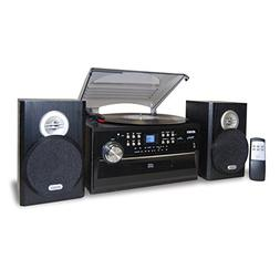 Jensen JTA-475 Home Turntable System 3-Speed Black Consumer