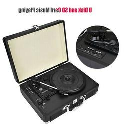 Antique Vinyl Record Player Suitcase Portable Turntable Play