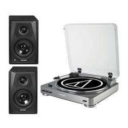 Audio-Technica AT-LP60 Turntable with Bluetooth Monitors Bun