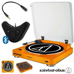 "Audio-Technica AT-LP60 Orange Turntable, 12"" Mat, Cleaning F"