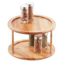Home Basics Bamboo 2 Tier Lazy Susan Turntable Storage Organ