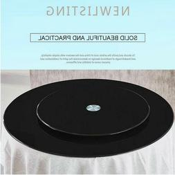 WM BL01 Black Tempered Glass Top with Lazy Susan Glass Turnt