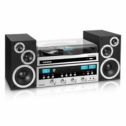 Bluetooth 3-Speed Turntable Classic Shelf Stereo System CD P