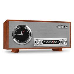 Victrola Bluetooth Analog Clock Stereo with FM Radio and USB