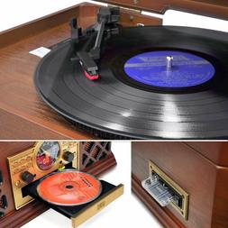 Pyle Bluetooth Classic 3 Speed Stereo Turntable CD Player Ca