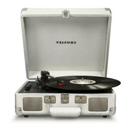 Bluetooth Portable Suitcase Record Player in White Sand w/ 3