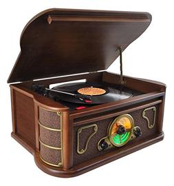 Pyle Bluetooth Wooden Retro Turntable Record Player, Built-i