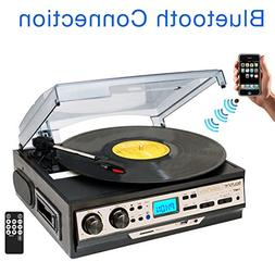 Boytone BT-27R-C Bluetooth 3-Speed Turntable AM FM USB/SD/AU