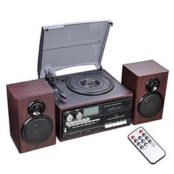 AW Classic Bluetooth Record Player System w/ 2 Speakers 3-Sp