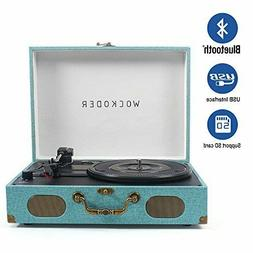 Deluxe Portable Bluetooth Record Player 3-Speed Turntable wi