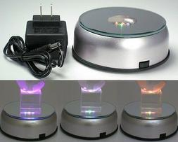 Display Base LED Lighted Silver Mirrored Top 7 Cycling Color