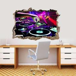 DJ Controller Party Turn Tables 3D Smashed Wall Sticker Deca