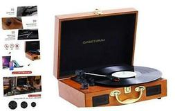 JORLAI Vinyl Record Player, 3 Speed Suitcase Turntable with