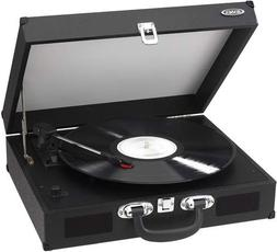 JENSEN JTA-410-BLK Portable 3-Speed Stereo Turntable with Bu