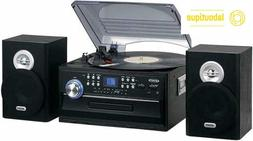 JENSEN JTA-475B 3-Speed Stereo Turntable with CD System Cass