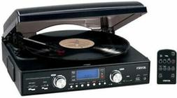 JENSEN JTA460 BLK STEREO TURNTABLE 3SPEED MP3 ENCODING SYSTE