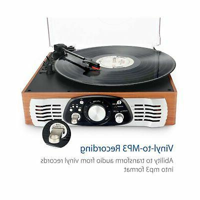 1byone Belt-Drive 3-Speed Stereo Turntable with Speakers, Natural