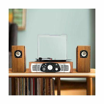 1byone Belt-Drive Turntable Built Speakers, Natural Wood