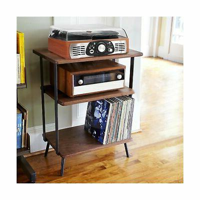 1byone 3-Speed Stereo Turntable with Speakers, Natural