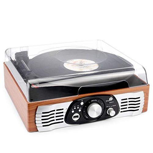 1byone Turntable with Speakers, Natural