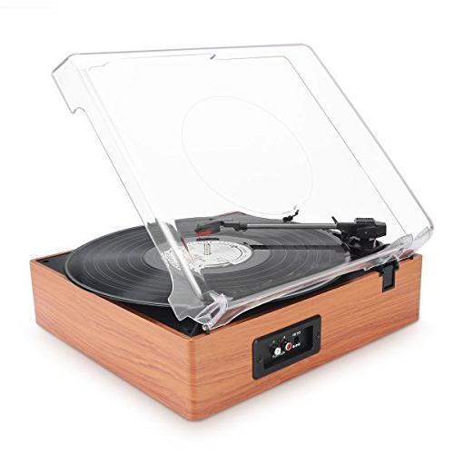 1byone Belt-Drive 3-Speed Stereo Turntable with Built Speakers, Natural Wood