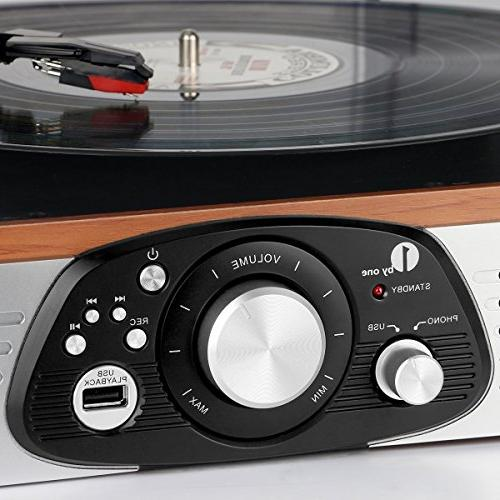 1byone Belt-Drive Stereo Turntable with Built Speakers,