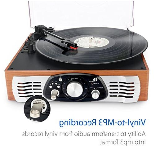 1byone Stereo Turntable Built Speakers, Natural