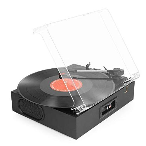 1byone Belt-Drive 3-Speed Mini Stereo Turntable in Speakers, to MP3 MP3 Jack, Pitch RCA Output, Black