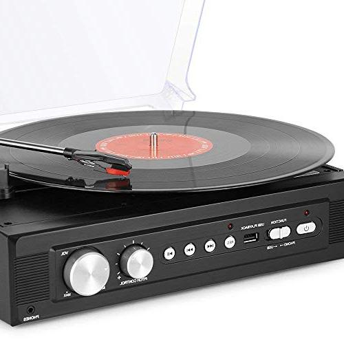 1byone Belt-Drive Mini Stereo Turntable Built in Speakers, to Recording, MP3 Playback, Stereo RCA