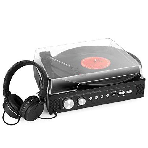1byone 3-Speed Mini Stereo Turntable in Speakers, to MP3 MP3 Jack, Control RCA Output,