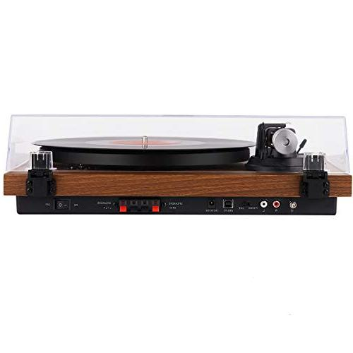 1byone Bluetooth Turntable System Bookshelf Speakers, Player