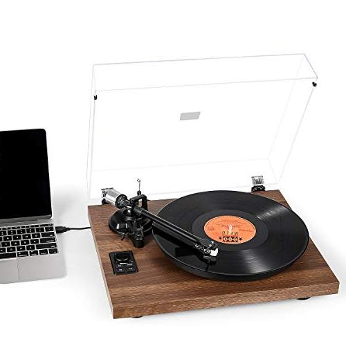 1byone Bluetooth Turntable System with Bookshelf Speakers, Vinyl Player with Magnetic Cartridge