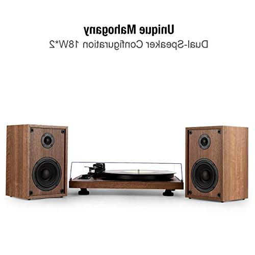1byone System Bookshelf Speakers, Record Player with