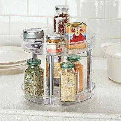 mDesign 2 Susan Turntable Food Container for
