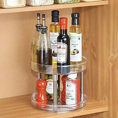 mDesign 2 Tier Susan Turntable Food Container Cabinets, Pant...