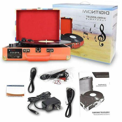Portable 3-Speed Bluetooth USB Suitcase Vinyl Record Player Stereo